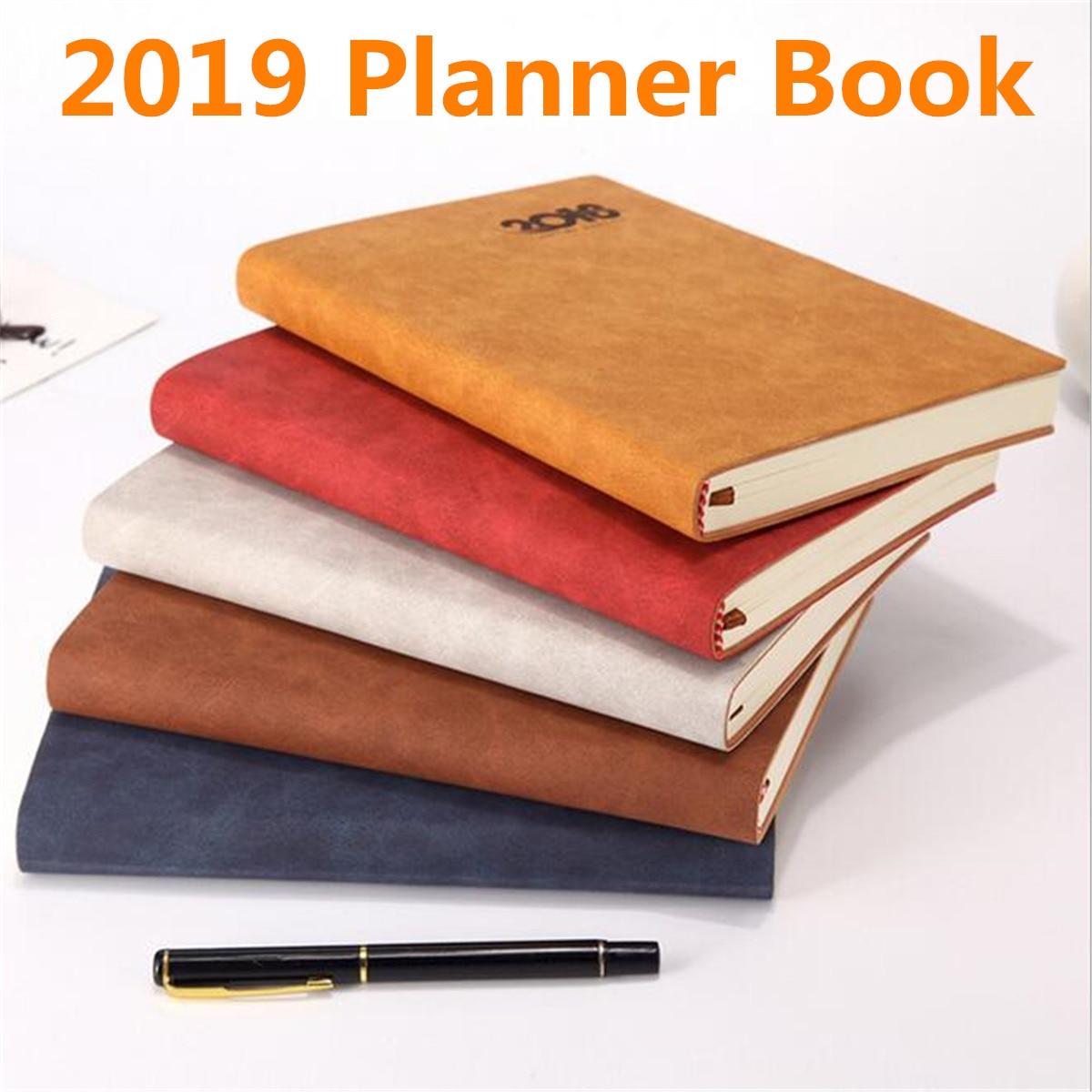 2019 A5 Hinweis buch Planer Organizer für Täglichen Monatliche Planer A5 Leder Notebook Schule Planer Notizblock für Frauen Männer Geschenk