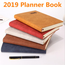 2019 A5 Note book Planner Organizer for Daily Monthly Planner A5 Leather Notebook School Planner Notepad for Women Men Gift