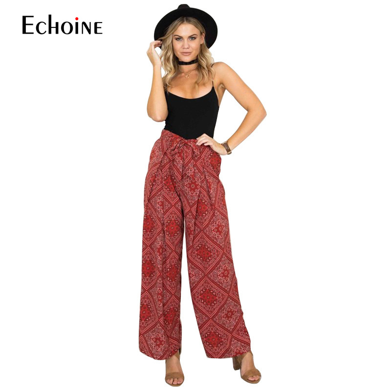 2019 Summer Fashion bohemian   Wide     Leg     Pants   Women Trousers Length with Sash Loose Casual Elegant streetwear Female Trousers