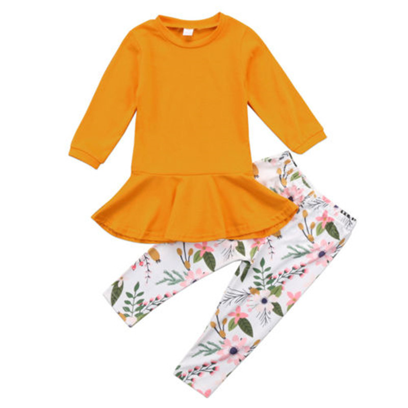Long Pants 2 Pcs Outfit Set Clothes 1-6Y UK Kids Baby Girls Floral Print Dress