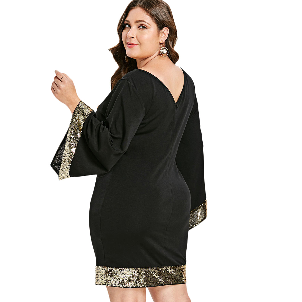 c39727cf351 Rosegal Plus Size Sequins Flare Sleeve Dress Women V Neck Long Sleeve  Bodycon Dress Female Office Party Work Dresses Vestido 5XL-in Dresses from  Women s ...