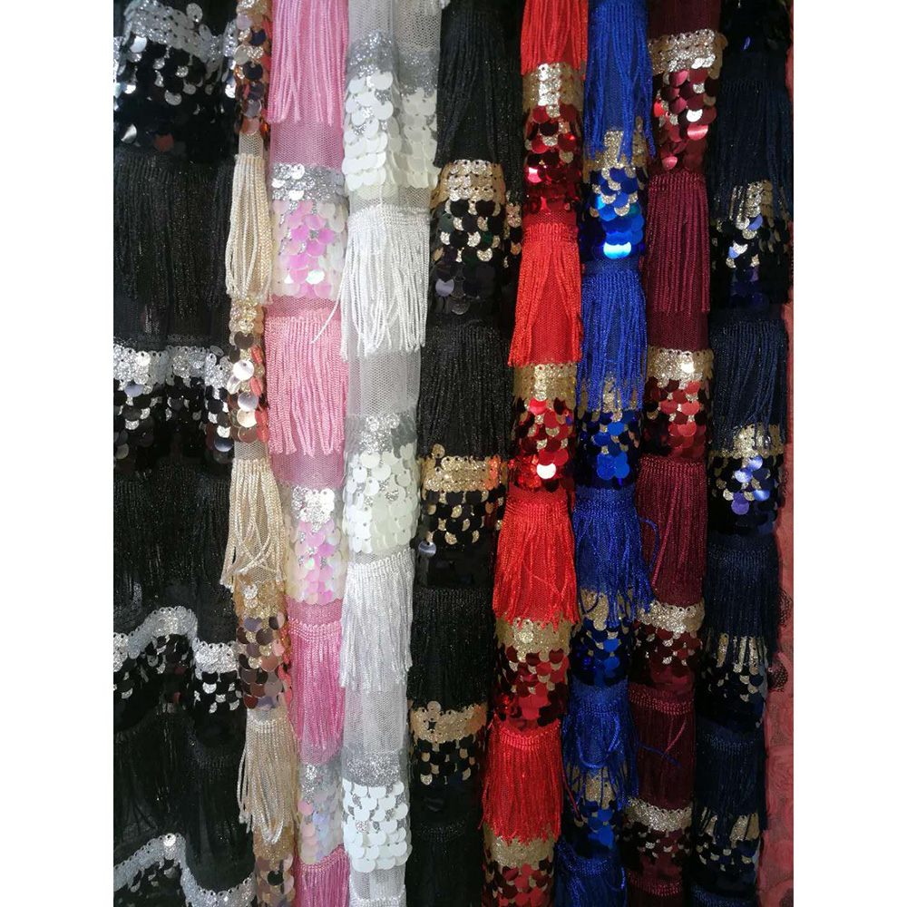 African French Lace Fabric With Sequins High Quality Nigerian Tulle Laces African Fabric for Wedding Latest