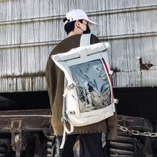 Уличный тренд, двойная сумка на плечо, Мужская блестящая Корейская версия, водонепроницаемый рюкзак, большая Вместительная дорожная сумка, школьная сумка