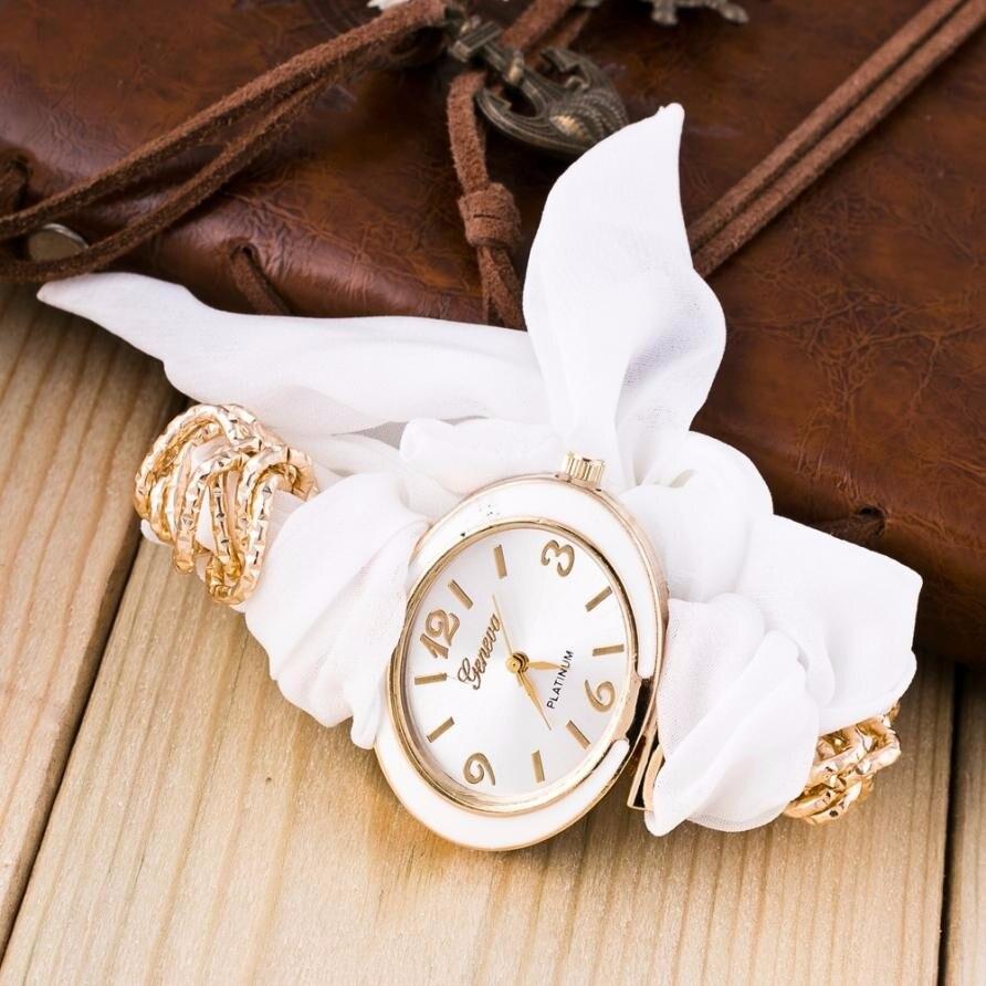 Fashion Clock Women Bracelet Watches Lady Fabric Bowknot Quartz Wrist Watch Woman Top Brand GENEVA Watch Relogio Reloj #N 5