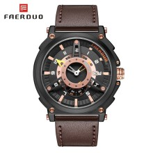 FAERDUO Unique Fashion Men Sports Watches Quartz Watch Men Waterproof Wrist Watches Army Men's Watch Leather Man Clock Calendar megir casual waterproof stop watch for male 2015 fashion canvas quartz watches men calendar wrist watch man free shipping 2021
