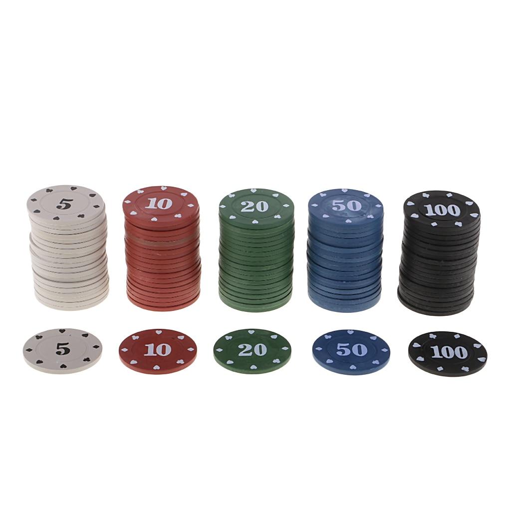 100 шт казино монеты-Жетоны круглые фишки для покера 5 10 20 50 100 для азартных игр
