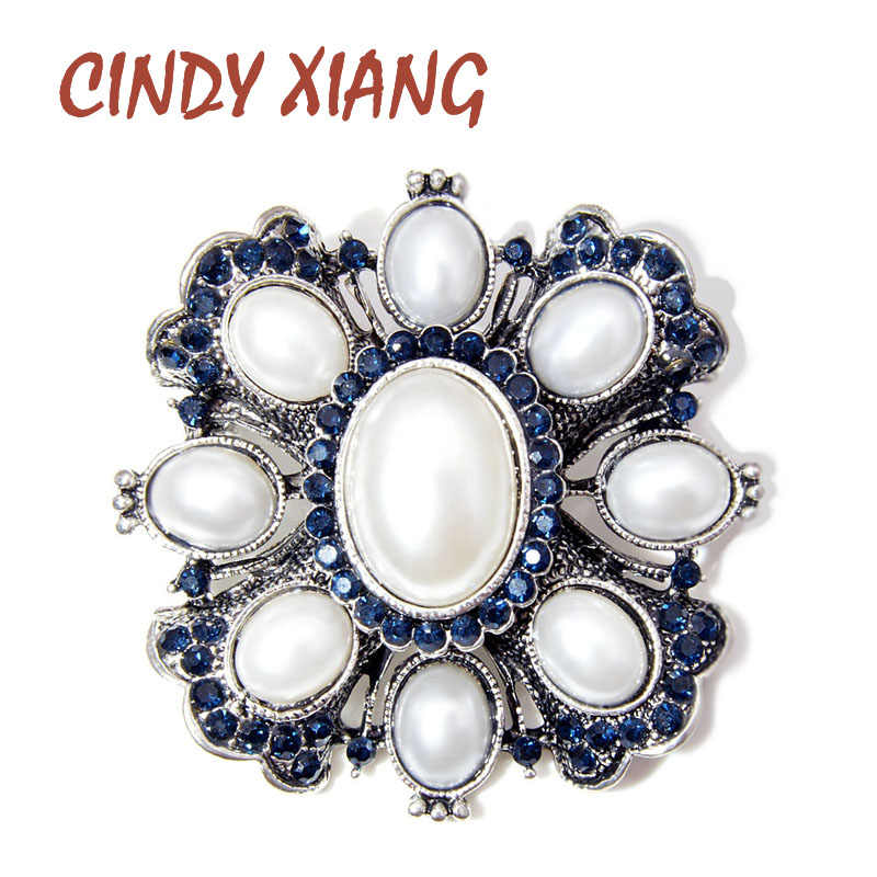 Cindy Xiang Baru Warna Blue Rhinestone Mutiara Cross Bros untuk Wanita Mantel Vintage Perhiasan Fashion Bros Pin Hadiah