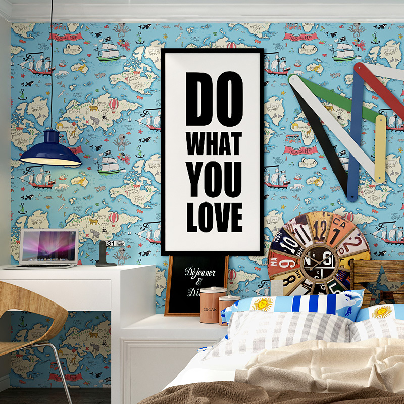 New Summer Blue Mediterranean Nautical Map Wallpapers Boys Bedroom Wall Papers Home Decor Papel De Parede 3d For Kids Room