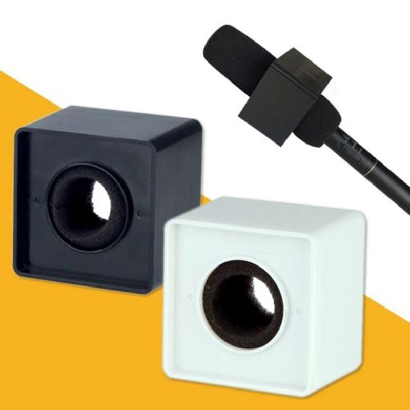 Weiß Abs Mic Mikrofon Interview Platz Cube Logo Flagge Station 37mm Loch Mikrofonstativ Heimelektronik Zubehör