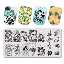 Beautybigbang Nail Stamping Plates 6*12cm Stainless Steel Summer Mermaid Pineapple Image Stencil For Art XL-071