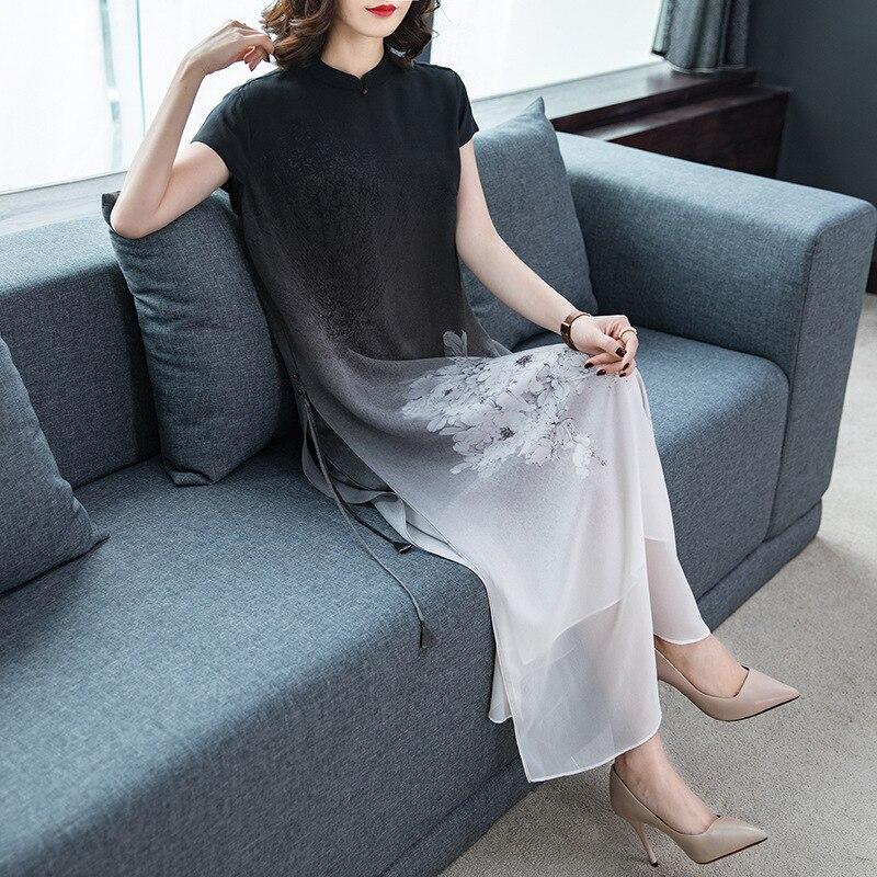 L-4XL Summer Plus Size Women Dress 2019 Silk Print Dress Casual Long Cheongsam Chinese Style Elegant Large Size Party Vestidos