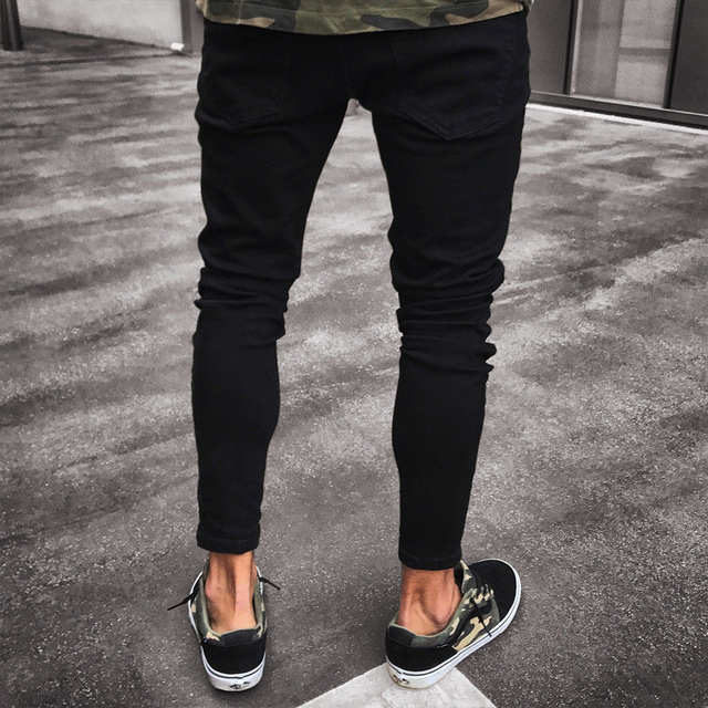 c1b1d8f1616de5 Mens Cool Designer Brand Black Jeans Skinny Ripped Destroyed Stretch Slim  Fit Hop Hop Pants With Holes For Men-in Jeans from Men's Clothing on ...