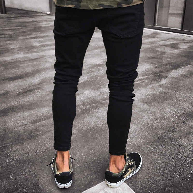 Mens Cool Designer ยี่ห้อสีดำกางเกงยีนส์ Skinny Ripped ทำลายยืด Slim พอดี Hop Hop กางเกงกับหลุมสำหรับชาย