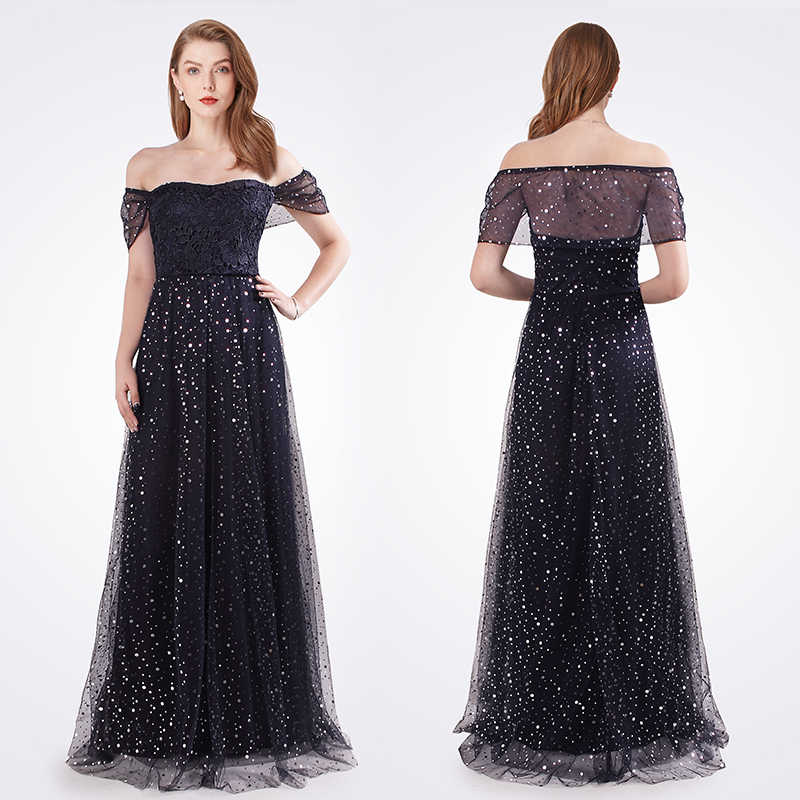 3a15819a988ca Evening Dresses Long 2018 Sexy A-line Off Shoulder Tulle Abendkleider  Formal Dress Women Elegant Cheap Special Occasion Gowns