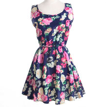 Floral print dresses sleeveless mini dress o-neck plus size summer 2019 streetwear korean boho vintage women clothes