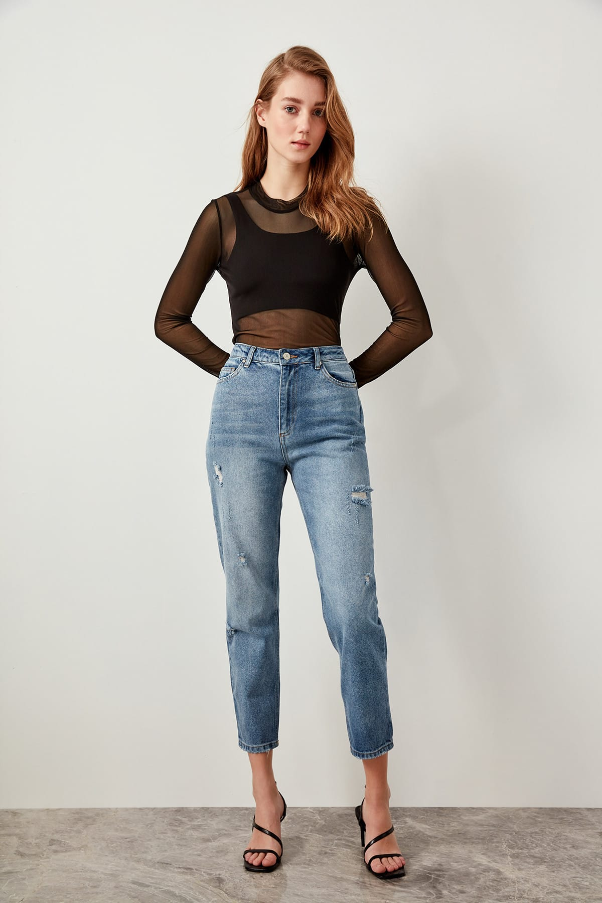 Trendyol Ripped Blue Jeans Detail High Waist Mom TCLSS19LR0131-in Jeans from Women's Clothing