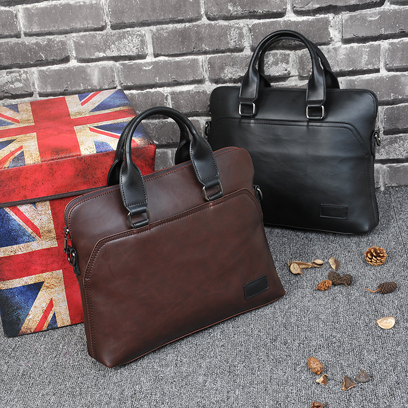 Crazy Horse Leather Bag Men's Briefcase Laptop Fashion Shoulder Bag Man Casual Zipper Business Bag Handbag Men