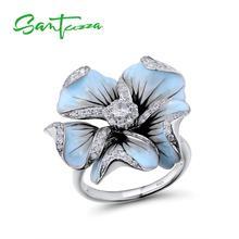 Женское серебряное кольцо SANTUZZA, из серебра 925 пробы с кубическим цирконием и синими цветами из эмали, ручная работа, модные ювелирные украшения