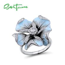 SANTUZZA Silver Ring For Women Pure 925 Sterling Silver Cubic Zirconia Blue Blooming Flower кольца Fine Jewelry Handmade Enamel