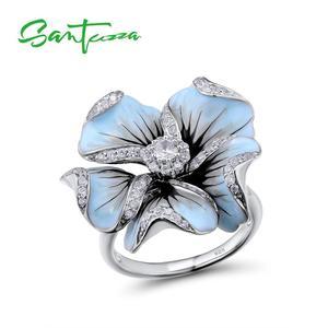 Image 1 - SANTUZZA Silver Ring For Women Pure 925 Sterling Silver Cubic Zirconia Blue Blooming Flower кольца Fine Jewelry Handmade Enamel