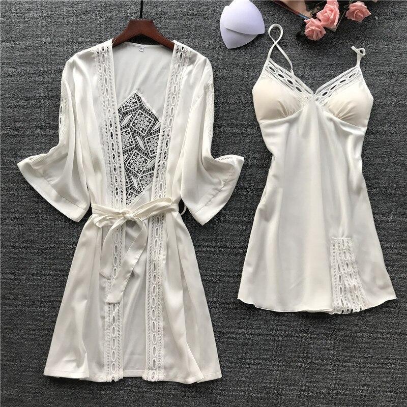 2019 Women Robe & Gown Sets Sexy Lace Sleep Lounge Pijama Long Sleeve Ladies Nightwear Bathrobe Night Dress With Chest Pads