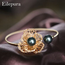 Eilepura Natural Fresh Water Baroque Black Pearl Bracelets Gift For Women Adjustable & Bangle Fine Jewellery B-A010