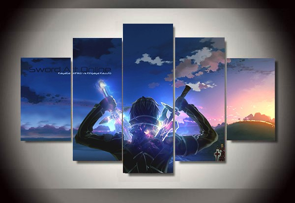 5 Panel Cartoon Sword Art Online Modern Home Wall Decor Painting Canvas HD Print Picture For