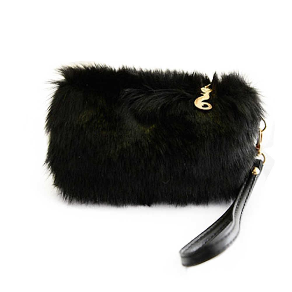 Musim Dingin Bulu Imitasi Kelinci Rambut Tas Genggam Tas Korea Candy Warna Clutch Bag Perjamuan Tas Fashion Elegan Wanita Dompet Dompet