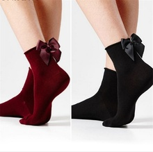 Lovely Black Bow Sexy Socks for Women Casual Sex Red Cotton Girls Short with Female Knot Skarpetki Damskie