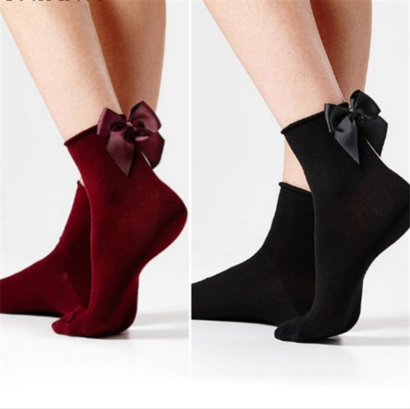 Lovely Black Bow Sexy   Socks   for Women Casual Sex Red Cotton Girls Short   Socks   with Female Bow Knot Skarpetki Damskie