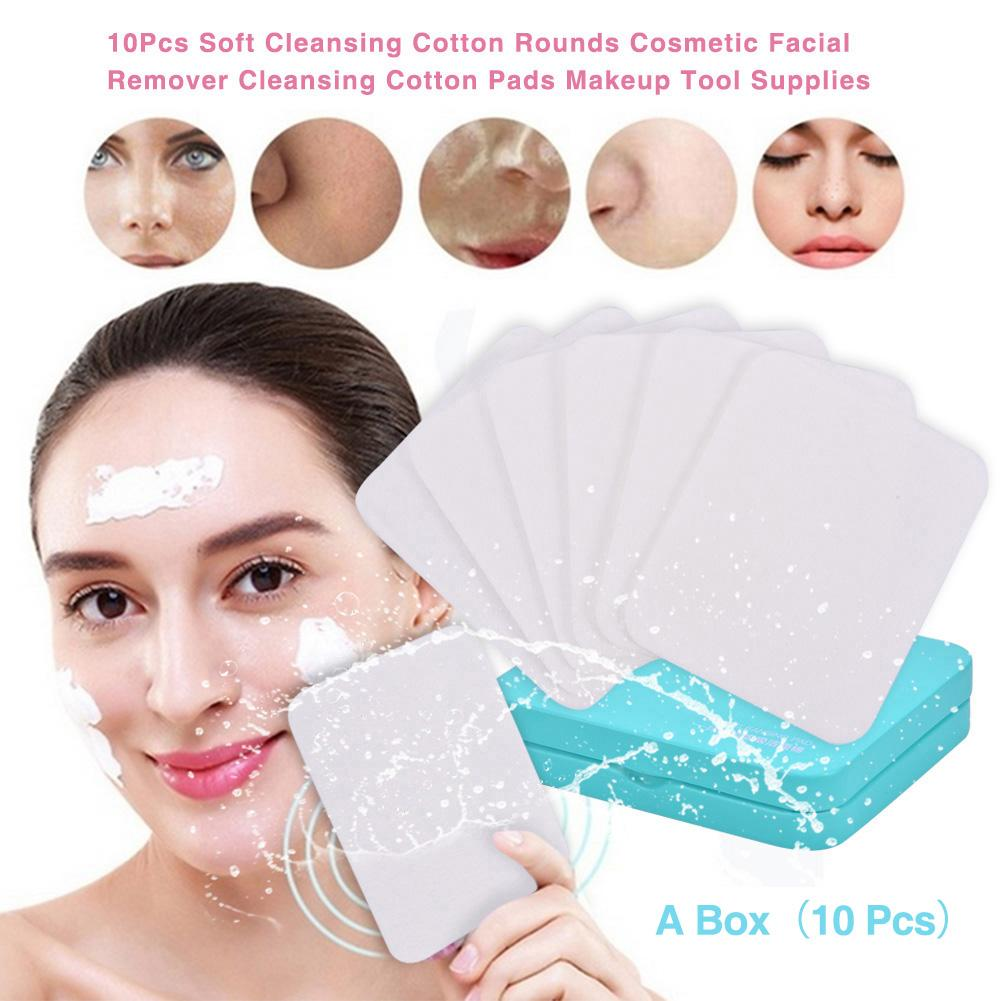 10Pcs Soft Cleansing Cotton Rounds Cosmetic Facial Remover Cleansing Cotton Pads Makeup Tool Supplies