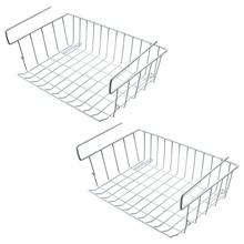 Under Shelf Storage Basket, 2 Pcs Cabinet Wire Basket Organizer Fit Dual Hooks for Kitchen Pantry Desk Book