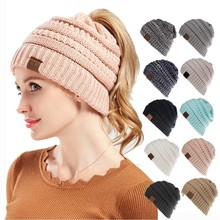 Europe and the United States hot winter wool hat 100% acrylic open ponytail hat warm hat girls high quality