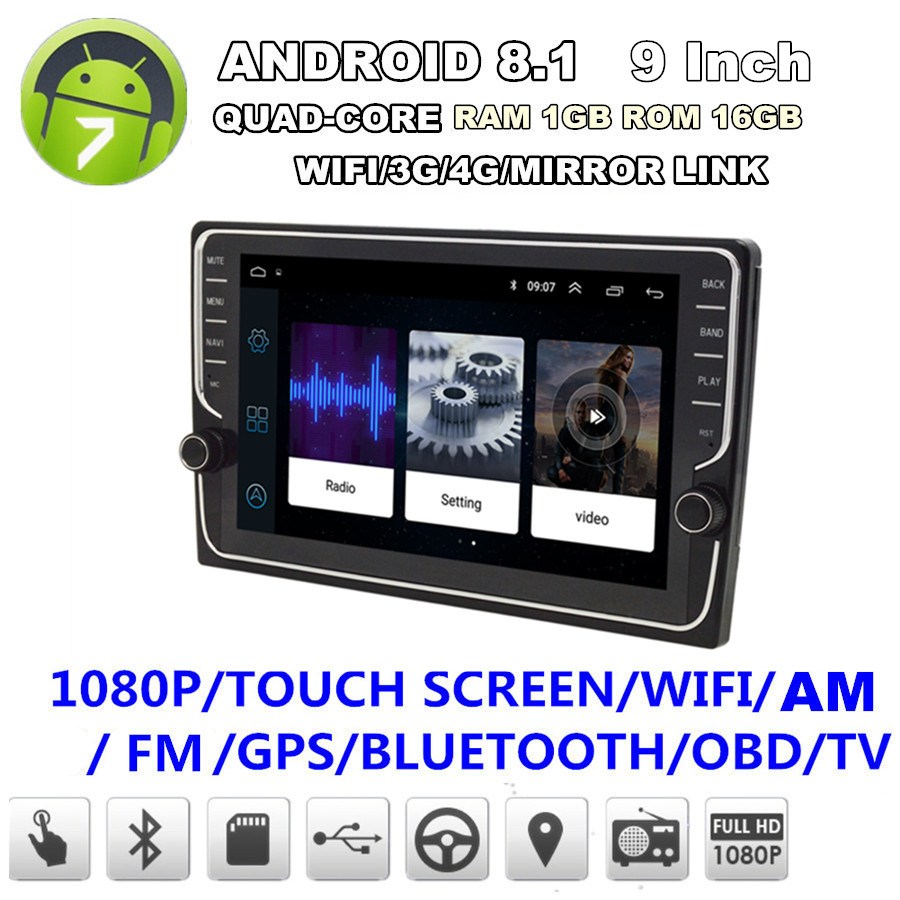 """7/"""" HD 2Din Android 8.1 Touch Screen Quad-Core GPS Wifi 3G 4G BT DAB Mirror Link"""