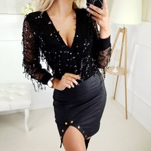 Sequined Chiffon Shirts Loose Beading Cardigan Solid Long Sleeve Blingbling V Neck Blouses Pink Sexy Work Wear