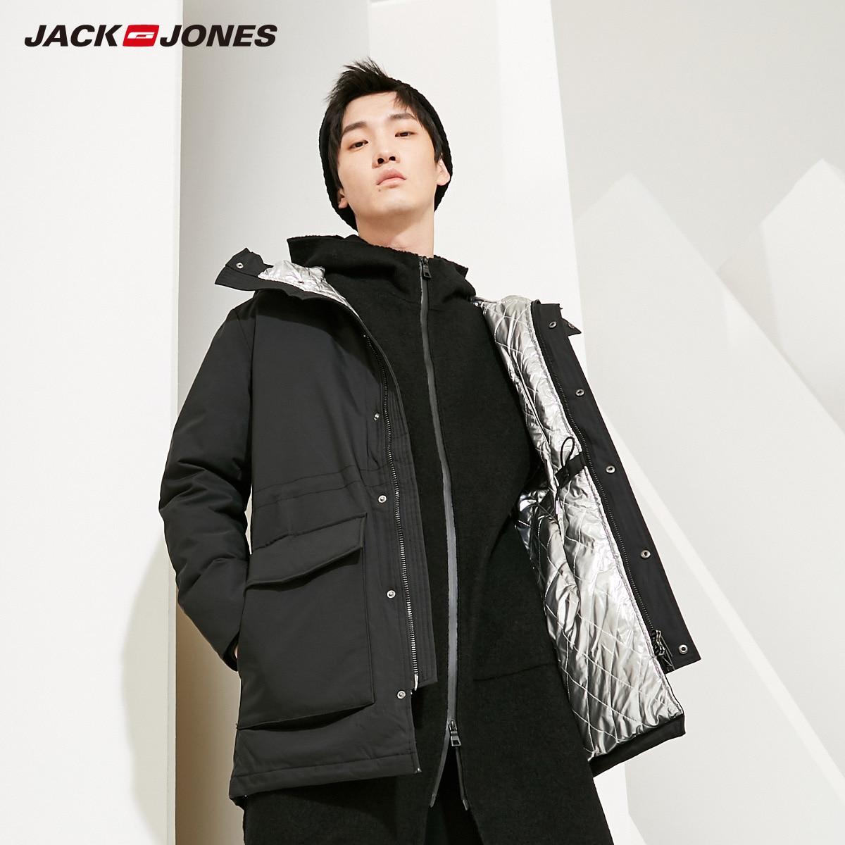 JackJones Мужская зимняя с капюшоном на открытом воздухе зимняя мужская повседневная модная пуховая куртка длинная Модная стильная мужская оде...