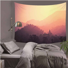 Tapestries Amazing Foggy forest Beautiful Sight Printed Tree Natural Scenery Tapestry Living Room Decor LZU12