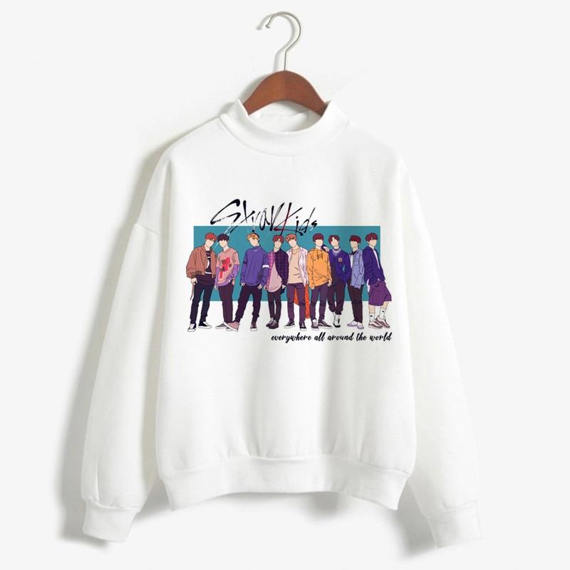 New Arrival Stray Kids Harajuku Printed K Pop Hoodies Women Sweatshirts Kpop Warm Pullover Turtleneck Fan Club Hoodie For Female