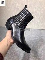 FR. LANCELOT/2019 г. новые высококачественные настоящие мужские кожаные ботинки шип заклепка ботильоны слипоны черные кожаные мужские ботинки в за