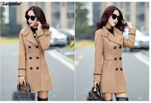 Hot Sale 2018 New Autumn Winter Blends Plus Size Coat Elegant Double Breasted Women Long Female Fashion Casual Tops