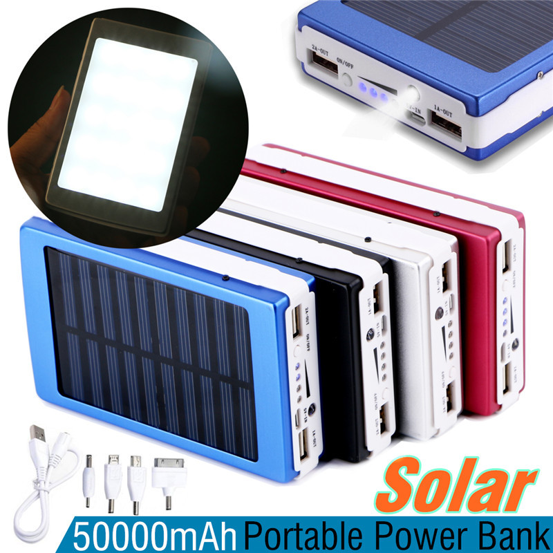 50000mAh Solar Panel LED Light Power Bank External Double USB Battery Charge With Charger Adapter Protable Outdoor usb battery bank charger