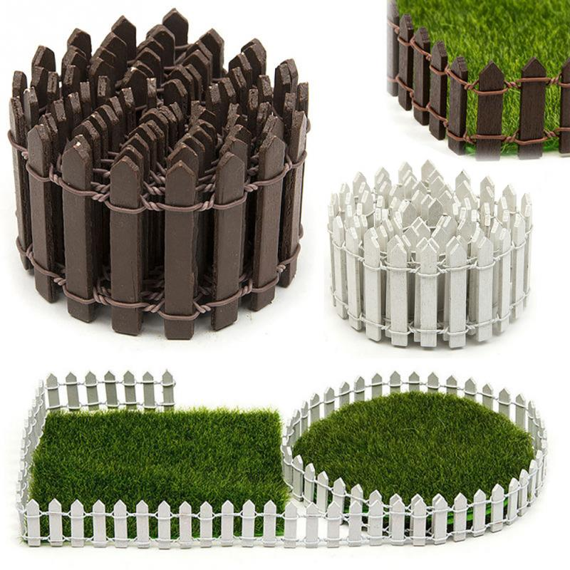100*5cm/100*3cm Miniature Small Wood Fence DIY Fairy Garden Micro Dollhouse Plant Pot Decor Bonsai Ornament White/Coffee #116