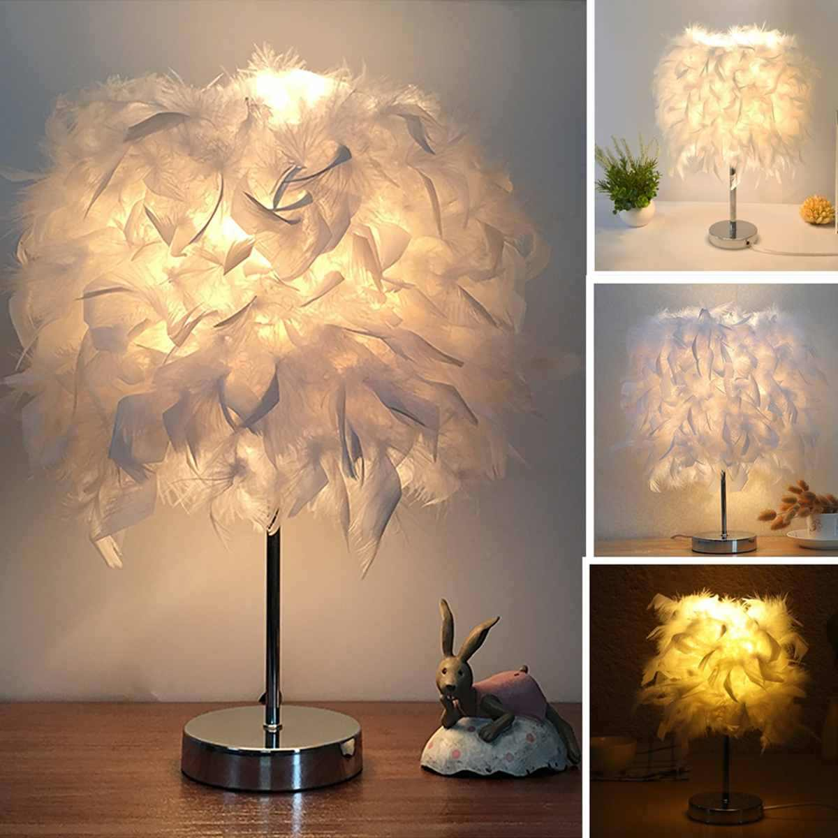 Adjustable 220V White Feather Table Lamp Bedside Desk Vintage Night Light Brightness Button Dimmer Switch Soft Warm Atmosphere