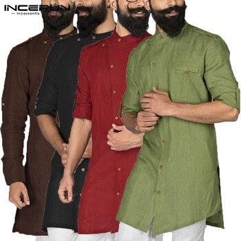 Chic 2020 Kurta Suits Indian Men Clothes Dress Shirt Long Sleeve Button Down Loose Arab Islamic Clothing Chemise  Pathani incerun 2020 men shirt long sleeve button islamic arab shirt muslim clothes men irregular hem solid casual shirts men suit