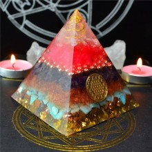 Aurora Orgonite Crystal Rune Pyramid Feng Shui Decoration Handmade Energy Converter Resin Decorative Craft Soothe The Soul