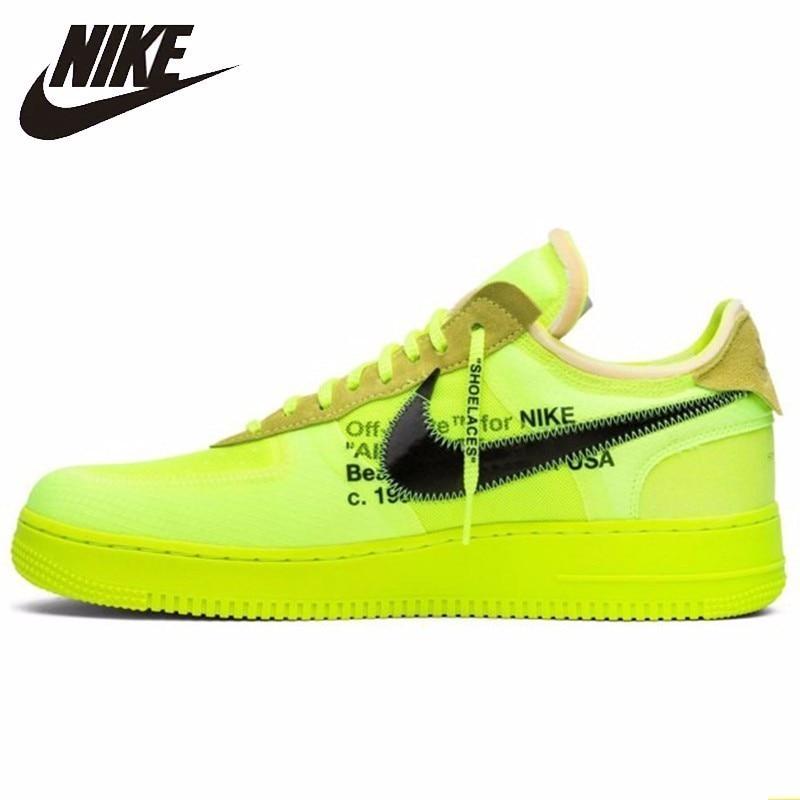 Nike Air Force 1 blanc cassé OW hommes chaussures de skate Fluorescence vert baskets confortables # AO4606-700