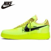 best sneakers 264b8 494a0 Nike Air Force 1 OFF WHITE OW Men Skateboarding Shoes Fluorescence Green  Comfortable Sneakers AO4606 700