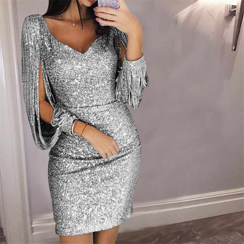 ... 2018 New Women Sexy Tassel Detail Sequin Party Dress Slit Sleeve V-neck  Club Mini ... dc8eadbe0477