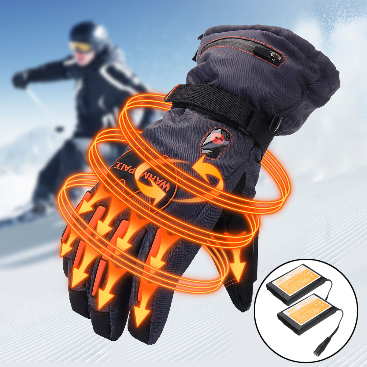 5600mAh Rechargeable Battery Electric Heated Hands Motorcycle Gloves Winter Hands Warmer Outdoor Skiing Protective Gloves