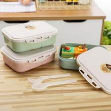 Microwave Dinnerware Food Storage Student Lunch Box Mess Innovative Degradable Crisper with Lid Seal Spoon Fork Food Container(China)